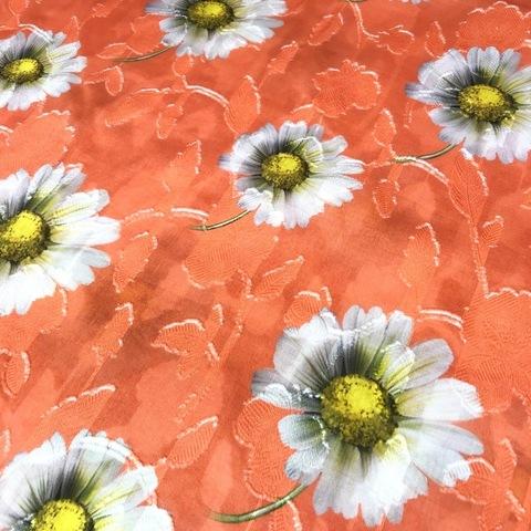 Ткань хлопок фил-купе ромашки в оранжевом цвете 2002
