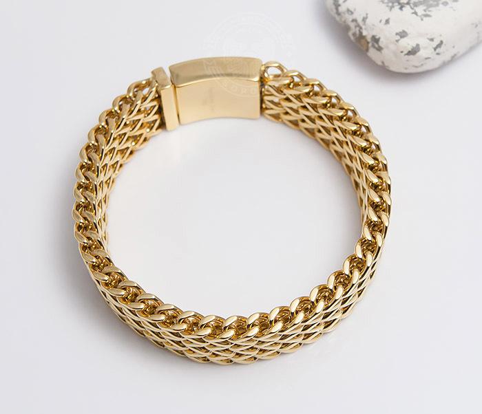 BM468-2 Тяжелый мужской браслет из стали золотистого цвета (22 см) фото 04
