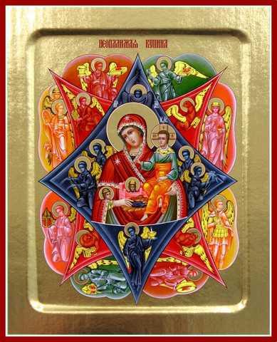 Неопалимая Купина икона Божией Матери, на дереве, 125х160 мм