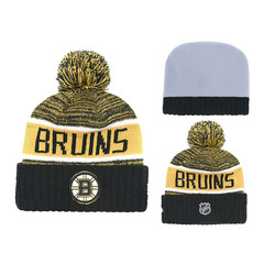 Шапка вязаная с помпоном и с логотипом НХЛ Бостон Брюинз (NHL Boston Bruins)