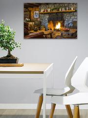 Картина на стекле/ Подарок на Новый год/ Картина на стену Рождественский камин, 60х40см