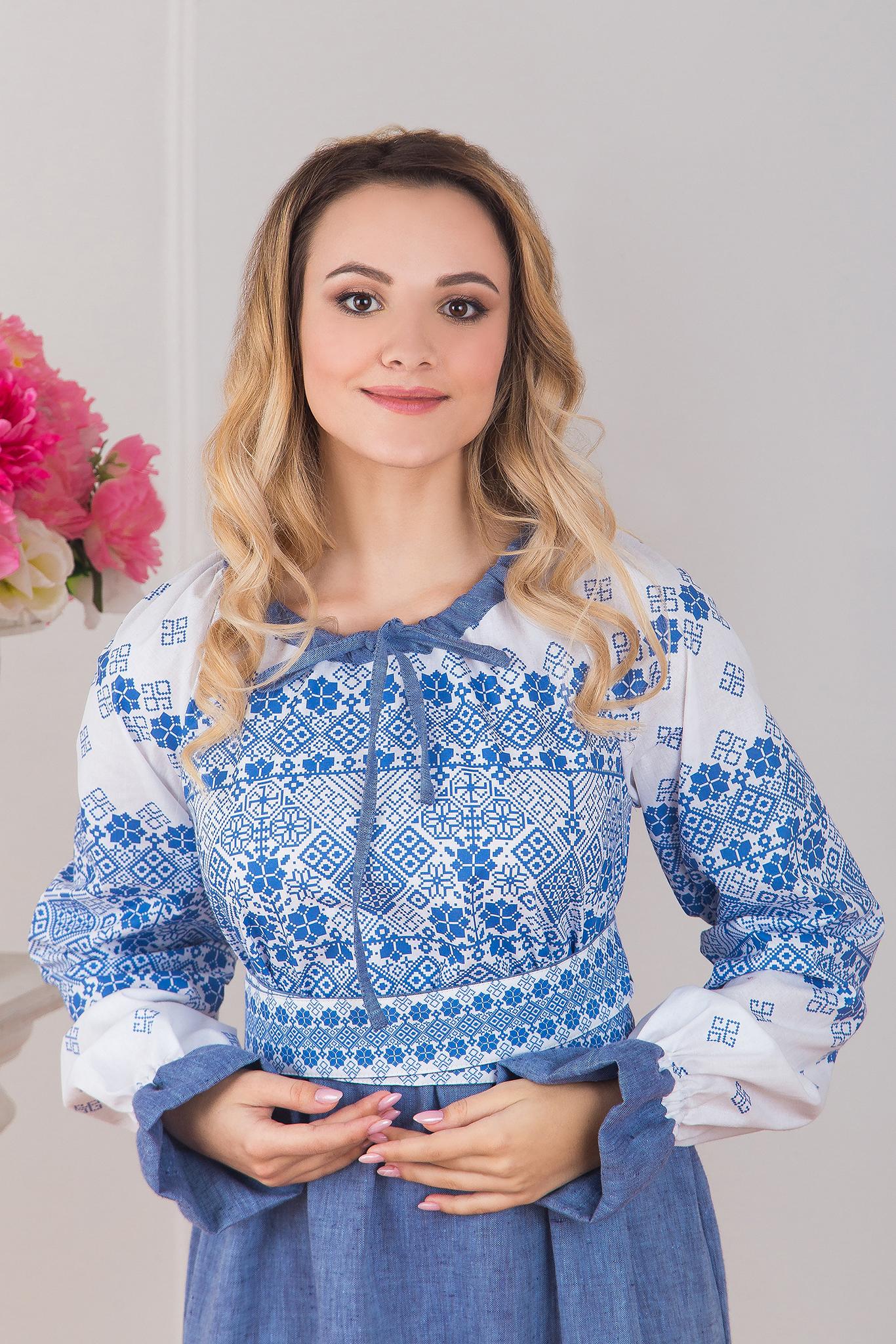 Славянское платье из льна Дары солнца купить