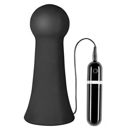 Большая чёрная вибропробка MENZSTUFF VIBRATING BUTTCRASHER BULBOUS - 20 см.