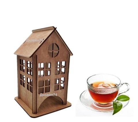 Чайный домик, Подставка для чайных пакетиков, 18х12х12 см. Цвет дуб.