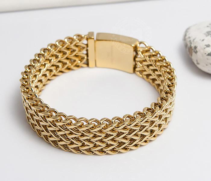 BM468-2 Тяжелый мужской браслет из стали золотистого цвета (22 см) фото 05