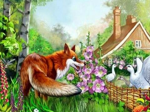 Картина раскраска по номерам 30x40 Лиса и гуси
