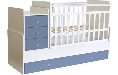 Кроватка детская Фея 1100 белый-синий