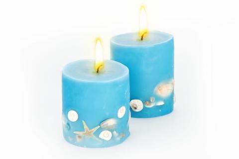 Свеча-эко ручной работы OCEANIC с ракушками/круглая, d 8 см h 8см TM Aromatte