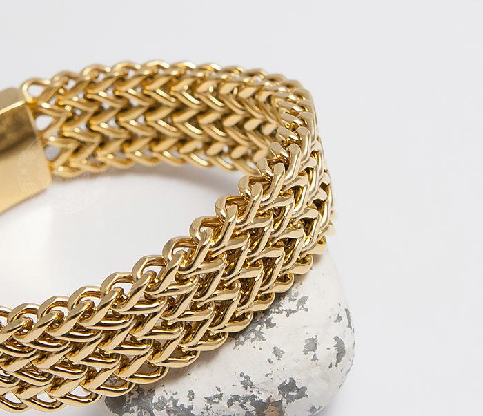 BM468-2 Тяжелый мужской браслет из стали золотистого цвета (22 см) фото 06