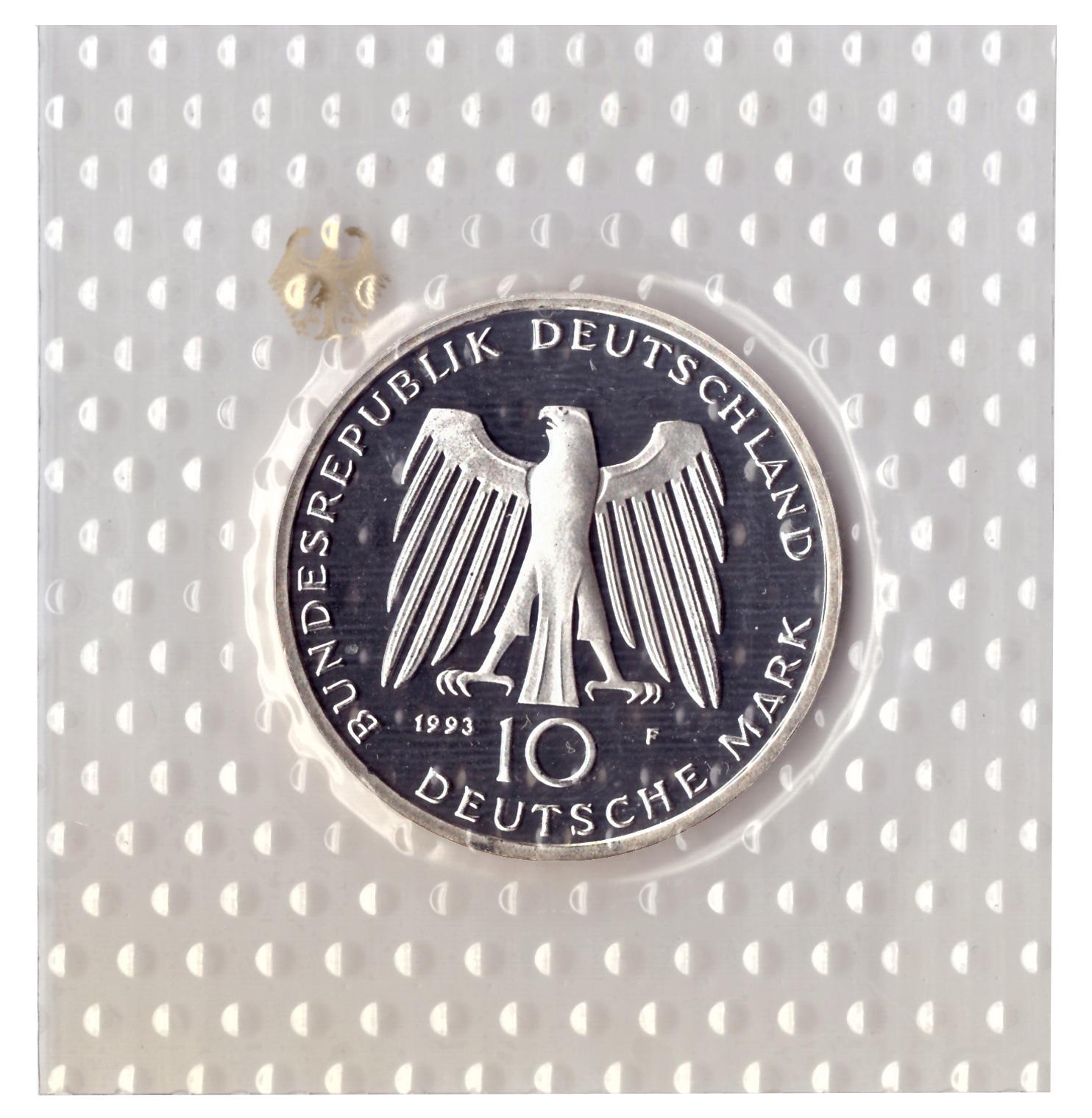 10 марок 1993 год (F) 1000 лет городу Потсдам, Германия. PROOF в родной запайке