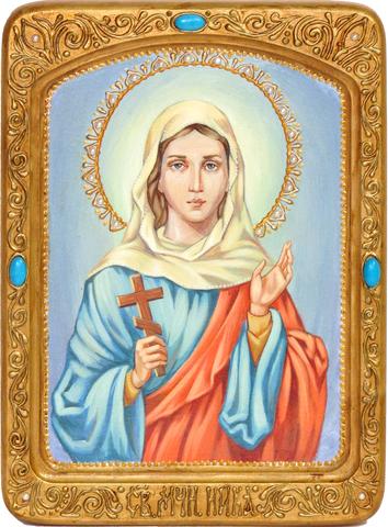 Подарочная живописная икона Святая мученица Ника Коринфская 29х21см на кипарисе