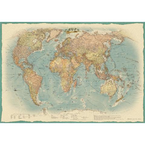 Настенная политическая карта мира в стиле ретро 1:22 млн