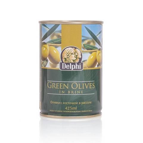Оливки с косточкой в рассоле DELPHI, 400 гр.