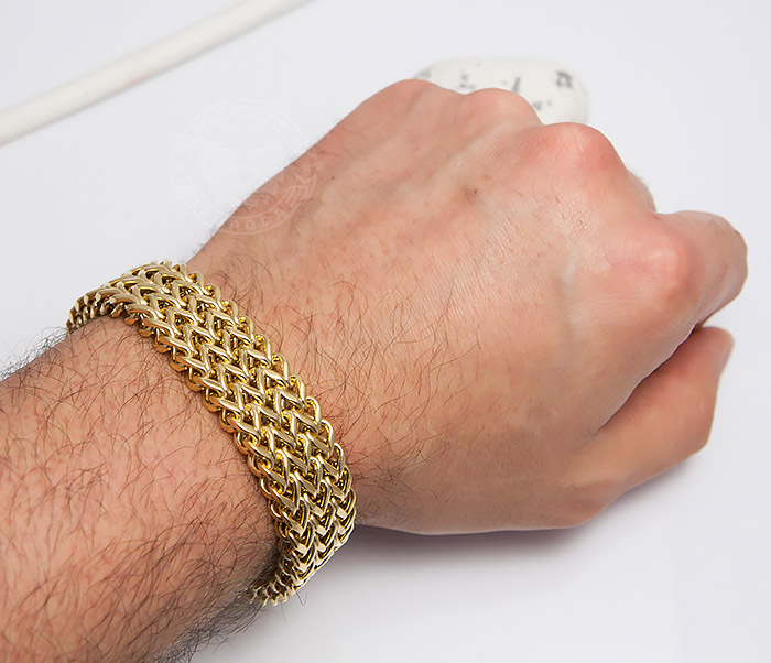 BM468-2 Тяжелый мужской браслет из стали золотистого цвета (22 см) фото 07