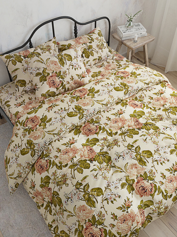 Простынь на резинке  -Прохоровская роза- натяжная 90х200х26 см 1,5-спальная