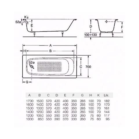 ванна чугунная  Roca CONTINENTAL с ножками /170х70/ (бел)
