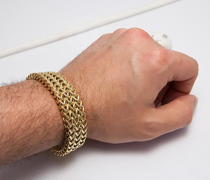 BM468-2 Тяжелый мужской браслет из стали золотистого цвета (22 см) фото 08