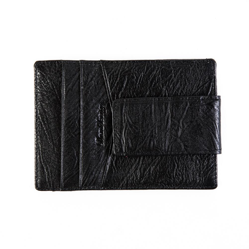 Маленький мужской чёрный кошелёк-карточница (картхолдер) из натуральной кожи DoubleCity 201803A