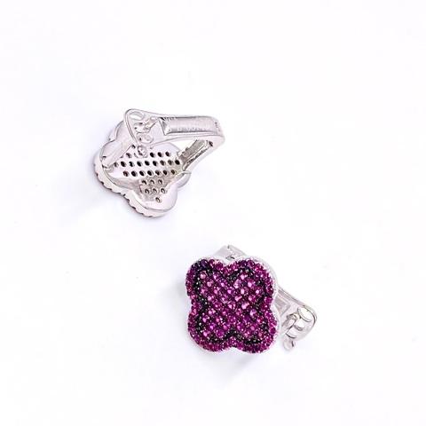 85130 - Серьги Trendy из серебра с рубиновыми микроцирконами