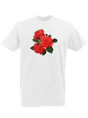 Футболка с принтом Цветы (Розы) белая 0002