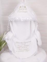 Эксклюзивная именная крыжма для крестин с ангелочками (белая)