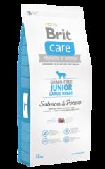 Беззерновой корм для юниоров крупных пород, Brit Care Grain-Free Junior Large Breed, с лососем и картофелем