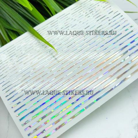 3D металлические наклейки полосы HOLOGRAPHY SILVER  (гнутся)