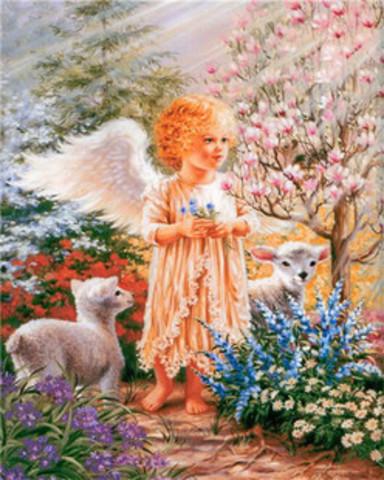 Алмазная Мозаика 40x50 Белокурый ангелок и овечки
