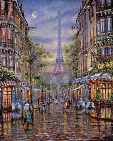 Картина раскраска по номерам 30x40 Кафе на улочках Парижа