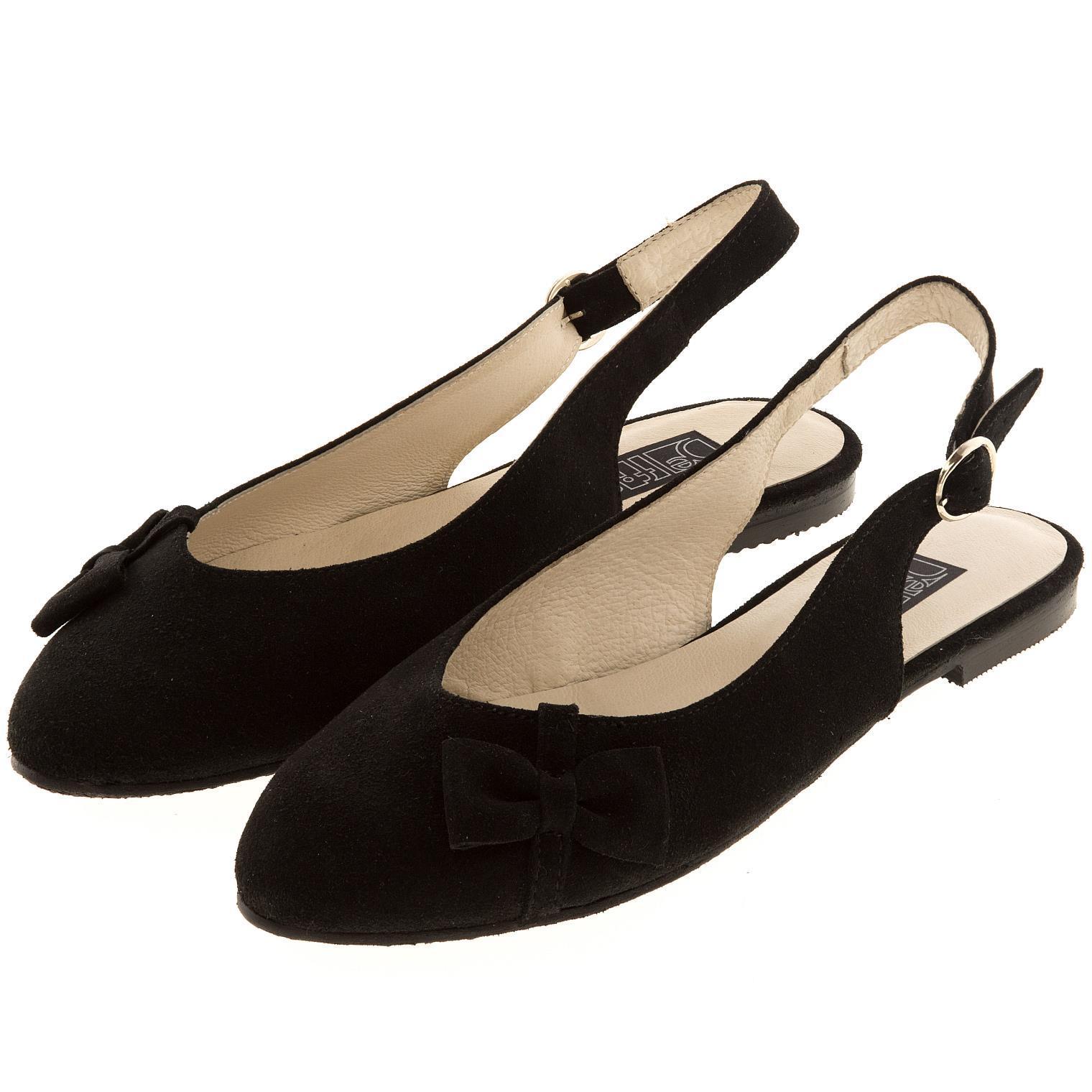 570199 Туфли летние женские черные замша больших размеров марки Делфино