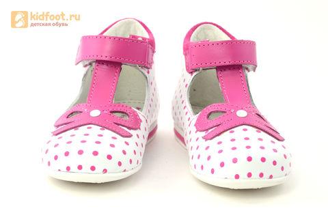 Детские туфли Котофей 232059-22 из натуральной кожи, для девочки, бело-розовые. Изображение 5 из 16.