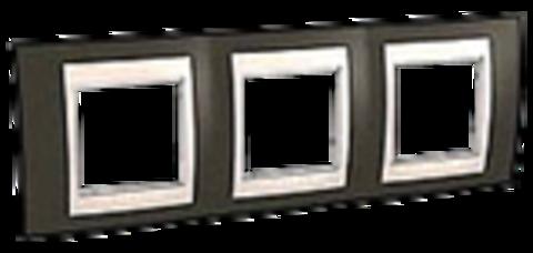 Рамка на 3 поста. Цвет Какао/Белый. Schneider electric Unica Хамелеон. MGU6.006.871