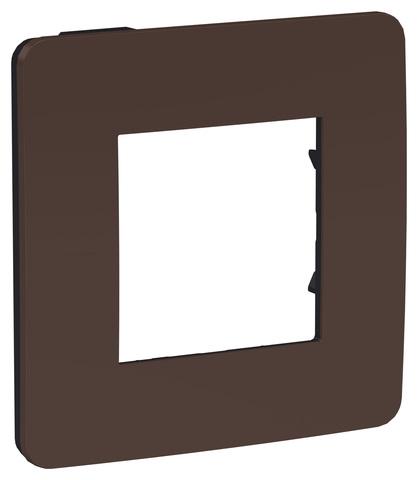 Рамка на 1 пост. Цвет Шоколад/антрацит. Schneider Electric Unica Studio. NU280217