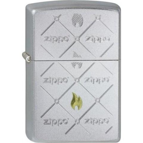 Зажигалка Zippos с покрытием Satin Chrome, латунь/сталь, серебристая, матовая, 36x12x56123