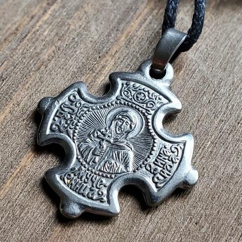 Нательная именная икона святая Зинаида с Распятием крест посеребренный