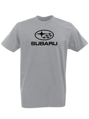 Футболка с принтом Субару (Subaru) серая 001