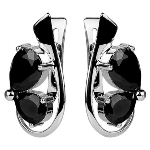 Серьги с черной нано шпинелью Арт. 2059н-шп