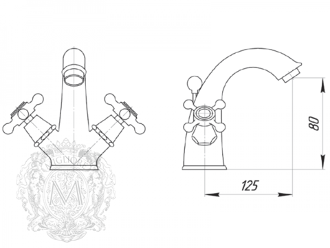 Смеситель для раковины  Migliore Beatrice ML.BTC-134 схема