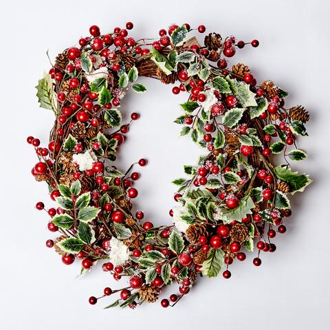 Венок с ягодами заснеженный 53 см