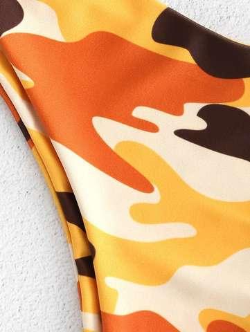 купальник раздельный желтый на одно плечо хаки бразильяно 3