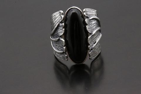 Кольцо с черным агатом из серебра 925