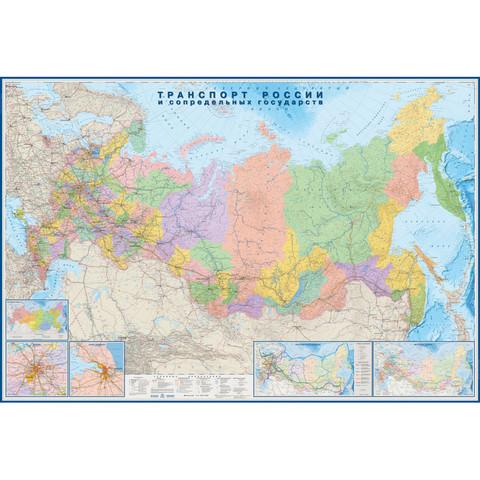 Настенная карта Транспорт России и сопредельных государств 1:3.7 млн