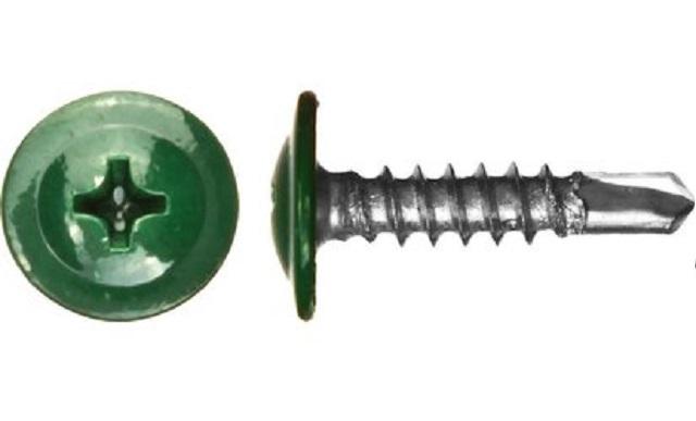 Саморез с прессшайбой со сверлом 4,2х16 (RAL6005(Зеленый мох))