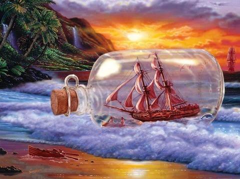 Алмазная Мозаика 40x50 Корабль в бутылка на волнах