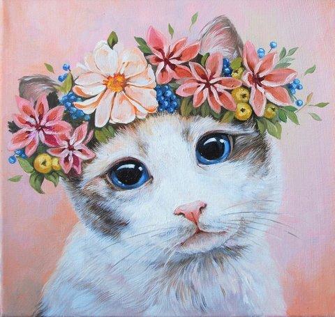 Картина раскраска по номерам 30x40 Кошечка с венком из цветов