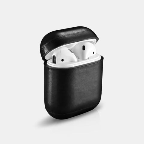 Кожаный чехол iCarer для AirPods (Черный)