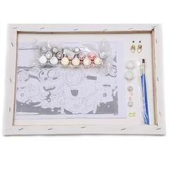 Картина раскраска по номерам 30x40 Бело-розовый букет на ажурной скатерти