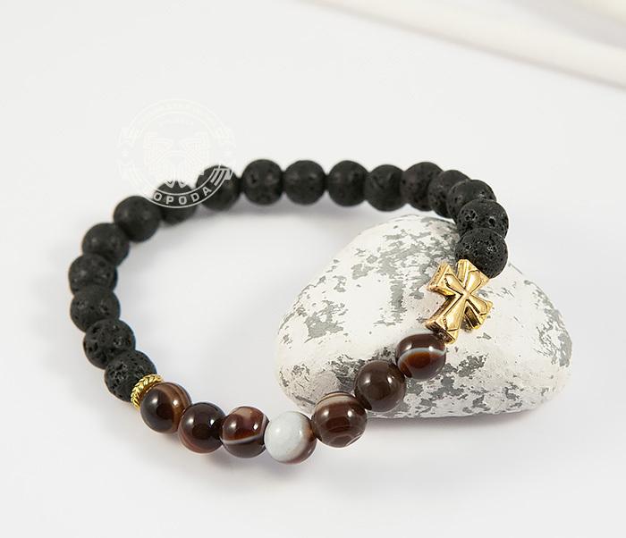 BS682-1 Мужской браслет из камней, лава и полосатый агат, ручная работа, «Boroda Design» фото 05