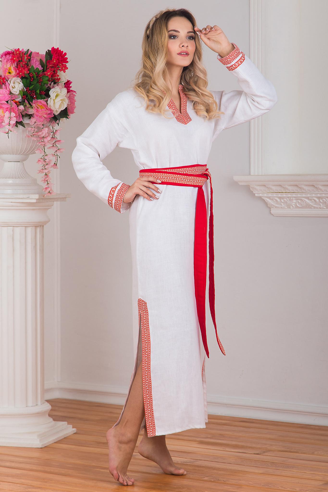 Вид сбоку - женская славянская рубаха Верная. Славянская одежда в интернет магазине Иванка
