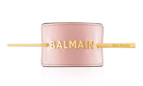Balmain Заколка для волос розовая с лого цвет золото Лимитированная Коллекция